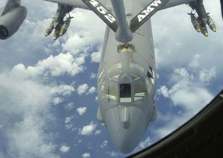 KC-135 Stratotanker Refueling a Boeing B-52H.  MSI Overhauls the KC-135 Refueling Nozzle, as well as the B-52 Engine Bypass Ducts